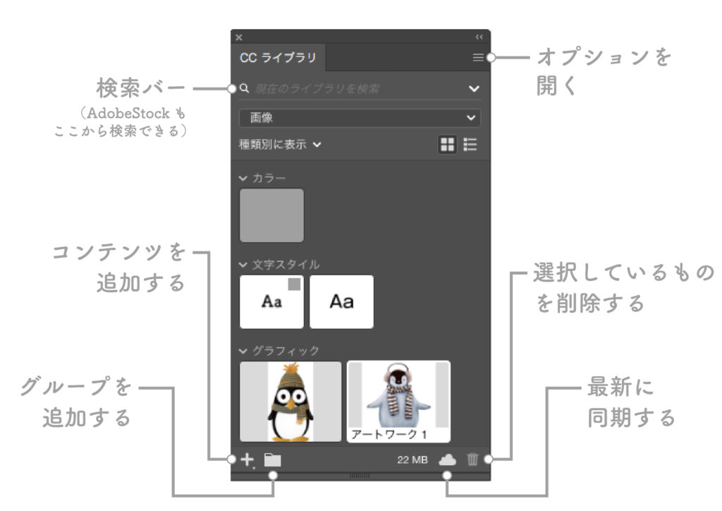 Illustrator cc ライブラリ 使い方